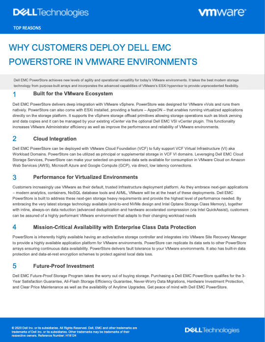 WHY CUSTOMERS DEPLOY DELL EMC POWERSTORE IN VMWARE ENVIRONMENTS