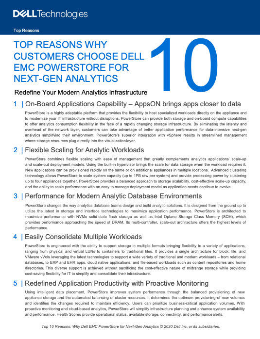 TOP REASONS WHY CUSTOMERS CHOOSE DELL EMC POWERSTORE FOR NEXT-GEN ANALYTICS