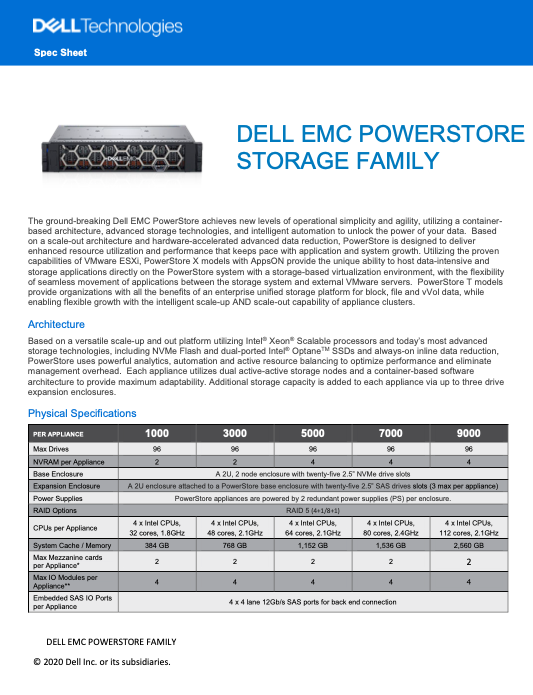 DELL EMC POWERSTORE STORAGE FAMILY