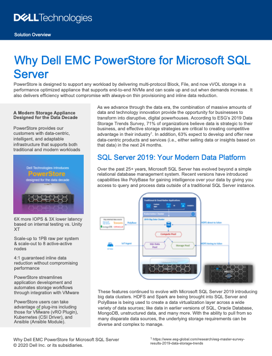 Why Dell EMC PowerStore for Microsoft SQL Server