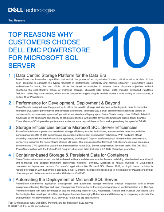 TOP REASONS WHY CUSTOMERS CHOOSE DELL EMC POWERSTORE FOR MICROSOFT SQL SERVER