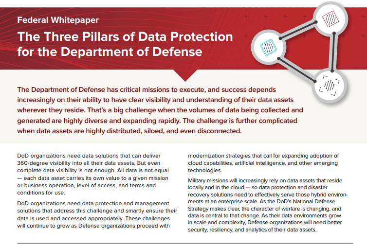 The Three Pillars of Data Protection for the Department of Defense