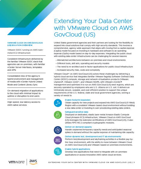 Extending Your Data Center with VMware Cloud on AWS GovCloud (US)