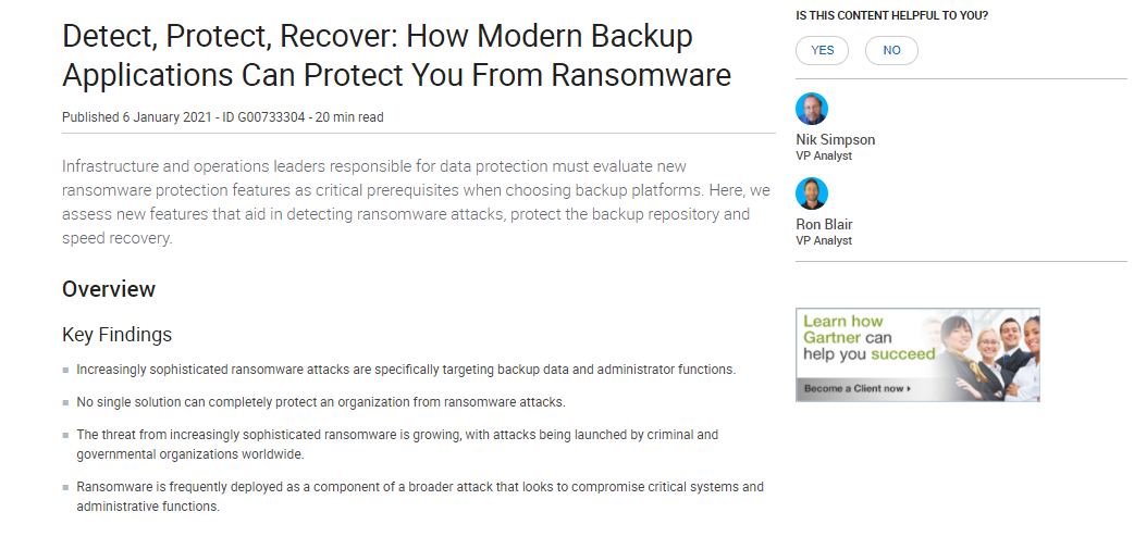 Detect, Protect, Recover: How Modern Backup Applications Can Protect You From Ransomware