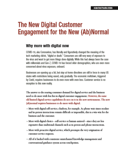 The New Digital Customer Engagement for the New (Ab)Normal