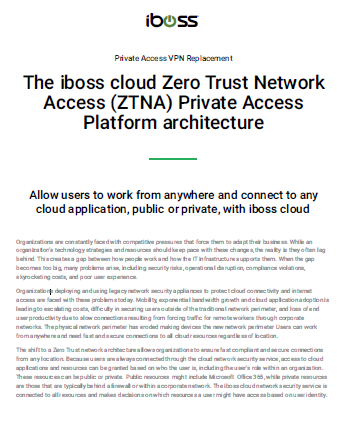 The iboss cloud Zero Trust Network Access (ZTNA) Private Access Platform architecture