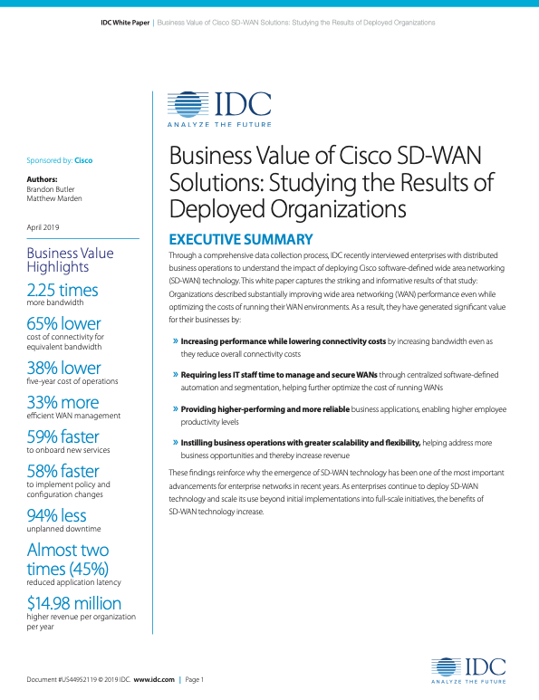 Business Value of Cisco SD-WAN Solutions: Studying the Results of Deployed Organizations
